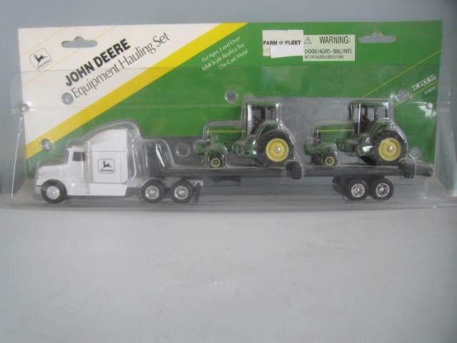 John Deer Die Cast Metal Remolque De Tractor & W 2 tractores, Ertl 1995, Nuevo En Caja