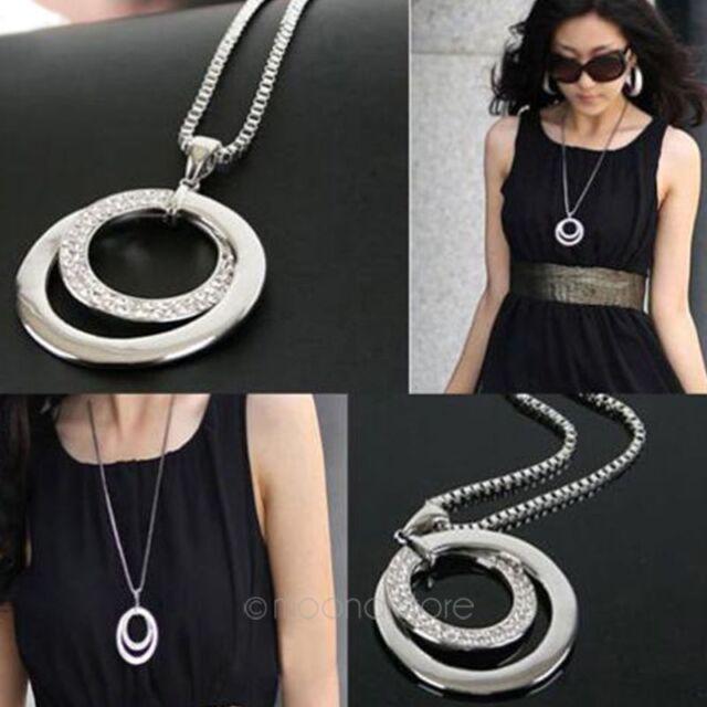 Damen Halskette Anhänger Swarovski kristall Strass Kreis Lange Kette Modeschmuck