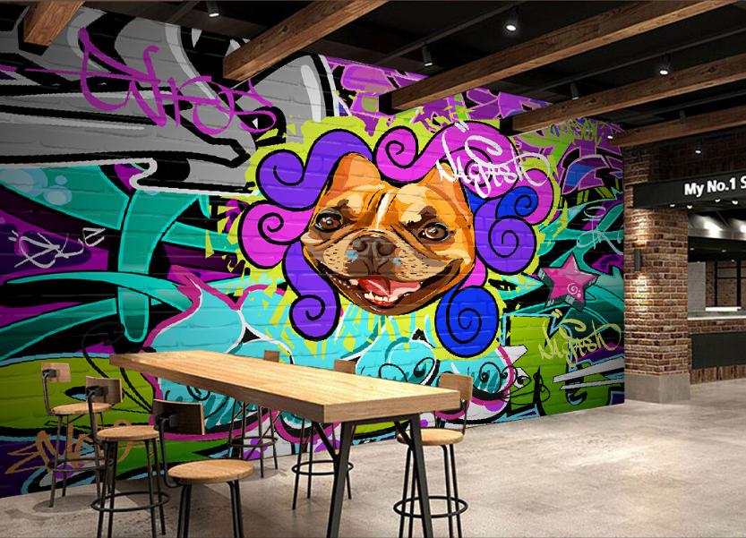 3D Bulldog Graffiti 85 Wall Paper Murals Wall Print Wall Wallpaper Mural AU Kyra