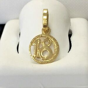 Sweet 18 charm 18k italian gold pendant marked 750 ebay image is loading sweet 18 charm 18k italian gold pendant marked aloadofball Image collections