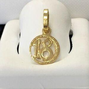 Sweet 18 charm 18k italian gold pendant marked 750 ebay image is loading sweet 18 charm 18k italian gold pendant marked aloadofball Image collections