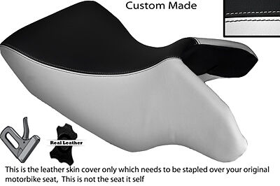 WHITE /& BLACK CUSTOM FITS MOTO GUZZI STELVIO 1200 07-13 FRONT LEATHER SEAT COVER