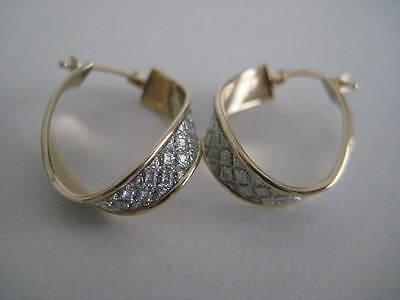 Gold glitter earrings 9 carat yellow gold crossover moondust