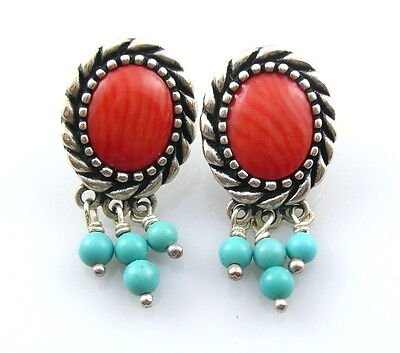 GORGEOUS Vintage 1980s 90s Sterling Silver Coral & Turquoise Pierced EARRINGS