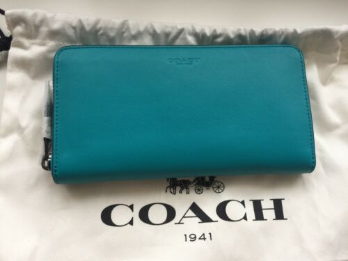 100% auth COACH ACCORDION zip wallet Glovetanned leather,bluenew RRP275
