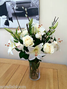 Stunning ivory lily rose pussy willow artificial silk flower vase image is loading stunning ivory lily rose amp pussy willow artificial mightylinksfo