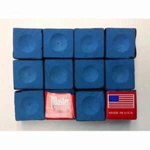 Master-BLUE-Pool-Billiard-Cue-Q-Stick-Chalk-Doz-Box-12-Pack-1-Dozen-12-ct