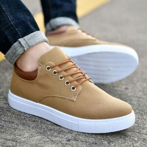 Men-039-s-Canvas-Shoes-Casual-Lace-Up-Athletic-Low-Top-Sports-Comfy-Flats-Driving