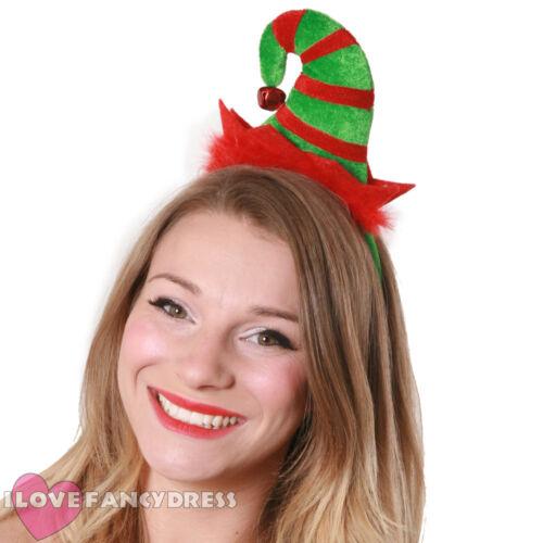 MINI Elf Hat sulla fascia con Jingle Bell Natale Costume Festa Di Natale