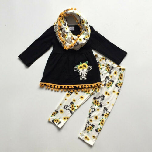 UK Kid Baby Girl Cow Floral Clothes Dress Top Pants Trousers Autumn Outfit 1-6Y