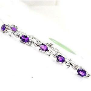 Special-Occasion-2ct-Genuine-Amethyst-Bracelet-Solid-925-Silver-Gift-Fashion