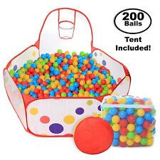 Pop up Kids Ball Pit Bundle Combo With 200 Colored Plastic Balls - 2day Ship