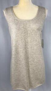 Sigrid-Olsen-Women-Top-Sweater-XL-Shirt-Knit-Sleeveless-Cashmere-Beige-New-139