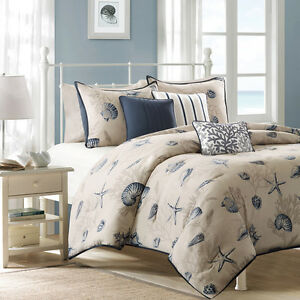 BEAUTIFUL-MODERN-BEACH-OCEAN-COAST-SEASHELL-NAVY-AQUA-BLUE-CORAL-DUVET-COVER-SET