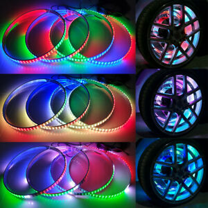 """17.5"""" 4x Double Row RGB Chasing Multi Color Car Truck Wheel Well Lights Rims Kit"""