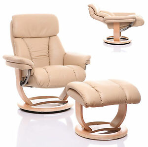 genuine leather recliner swivel chair amp stool cream natural base