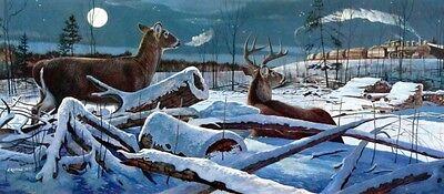 "Midnight Passage By Chris Kuehn Deer Train Print  Image Size 17.75/"" X 8/"""