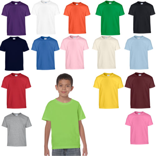 PACK OF 3 GILDAN HEAVY COTTON CHILDS KIDS BOYS GIRLS T-SHIRTS ALL AGES