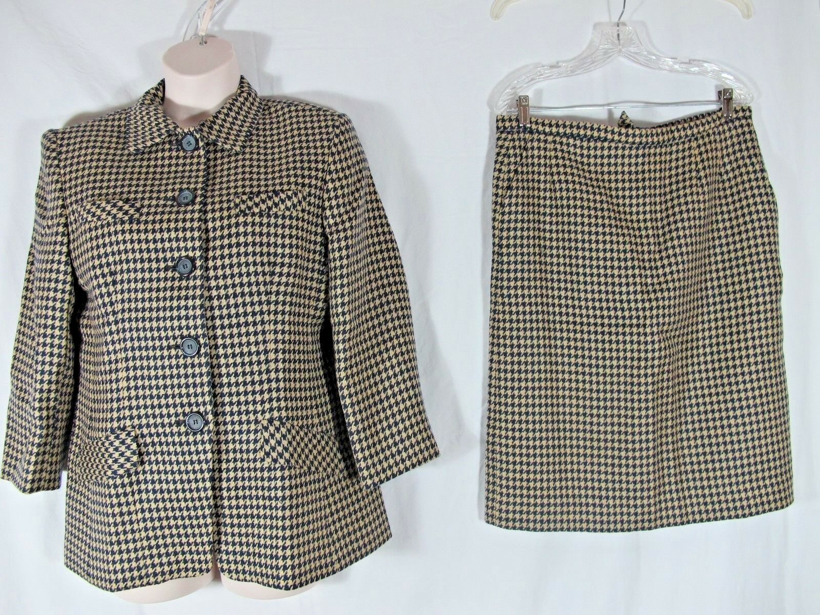 Evan Picone bluee Tan Vintage 50s Houndstooth Skirt Suit Size 14