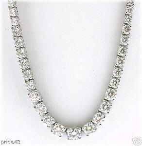 1431218e6f3564 Image is loading 15-carat-Round-Graduated-Diamond-Tennis-Necklace-F-G-