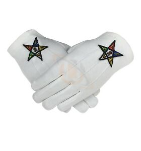 Brand New OES Cotton Gloves Order of eastern Star Glove MASONIC OES Gloves