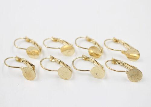 50//100Pcs français Boucle d/'oreille clip crochets avec Round Findings Gold Plaqué Argent