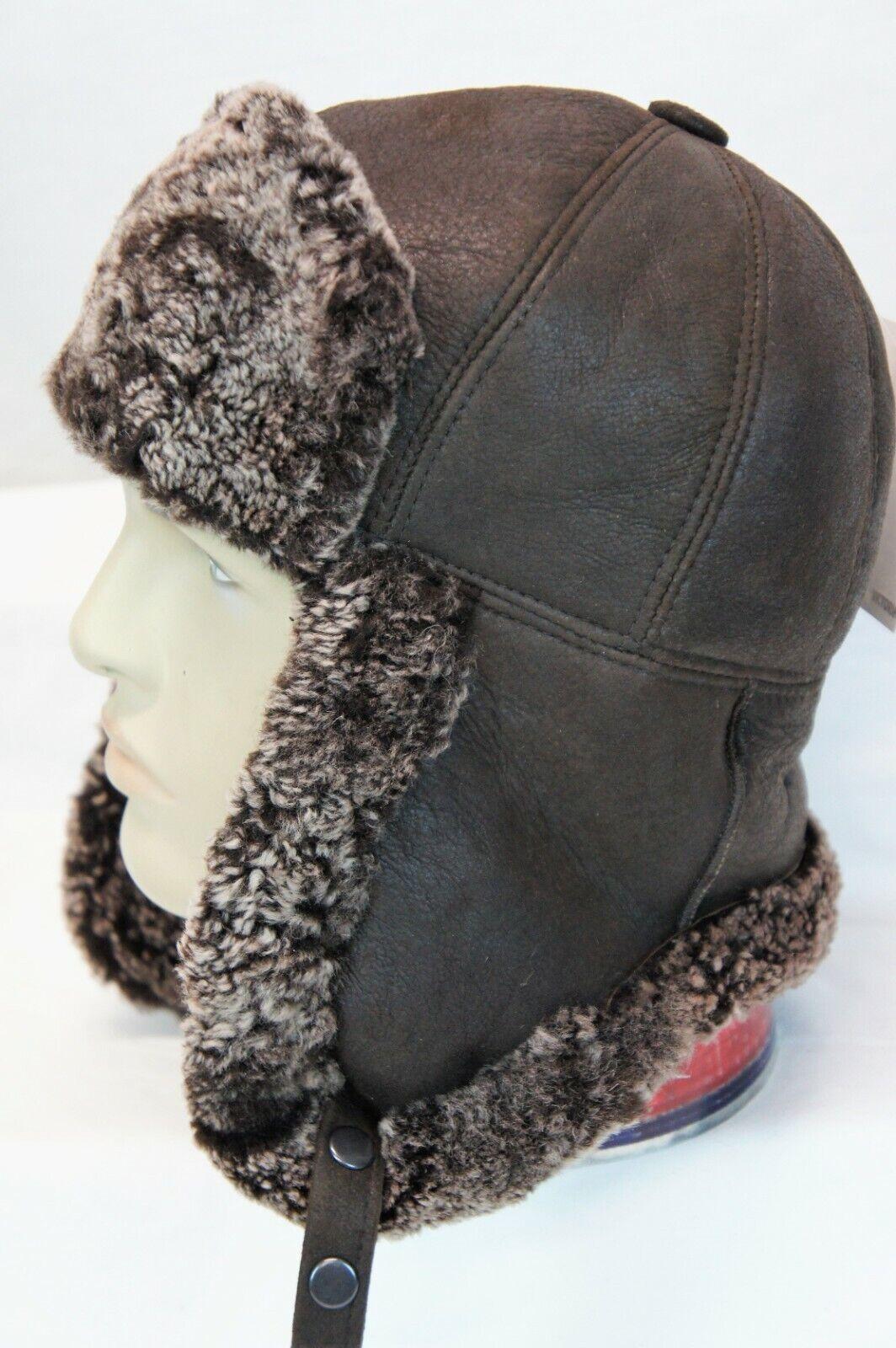 Real Sheepskin Shearling Leather Bomber Trapper Ushanka Hunting Fur Hat M-3XL