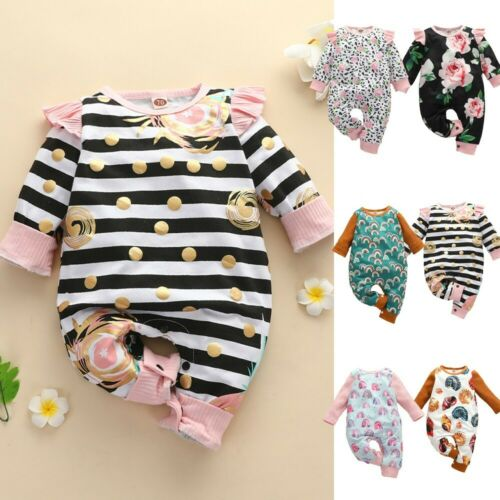 Newborn Infant Baby Girls Rainbow Floral Print Romper Jumpsuit Outfits Clothes