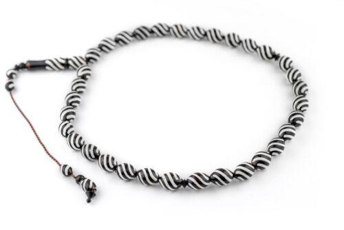 Zebra Design Oval Arabian Prayer Beads 10mm Middle East Black and White Wood