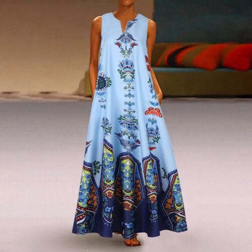 UK Women Bohemia V Neck Sleeveless Casual Loose Cocktail Party Floral Maxi Dress