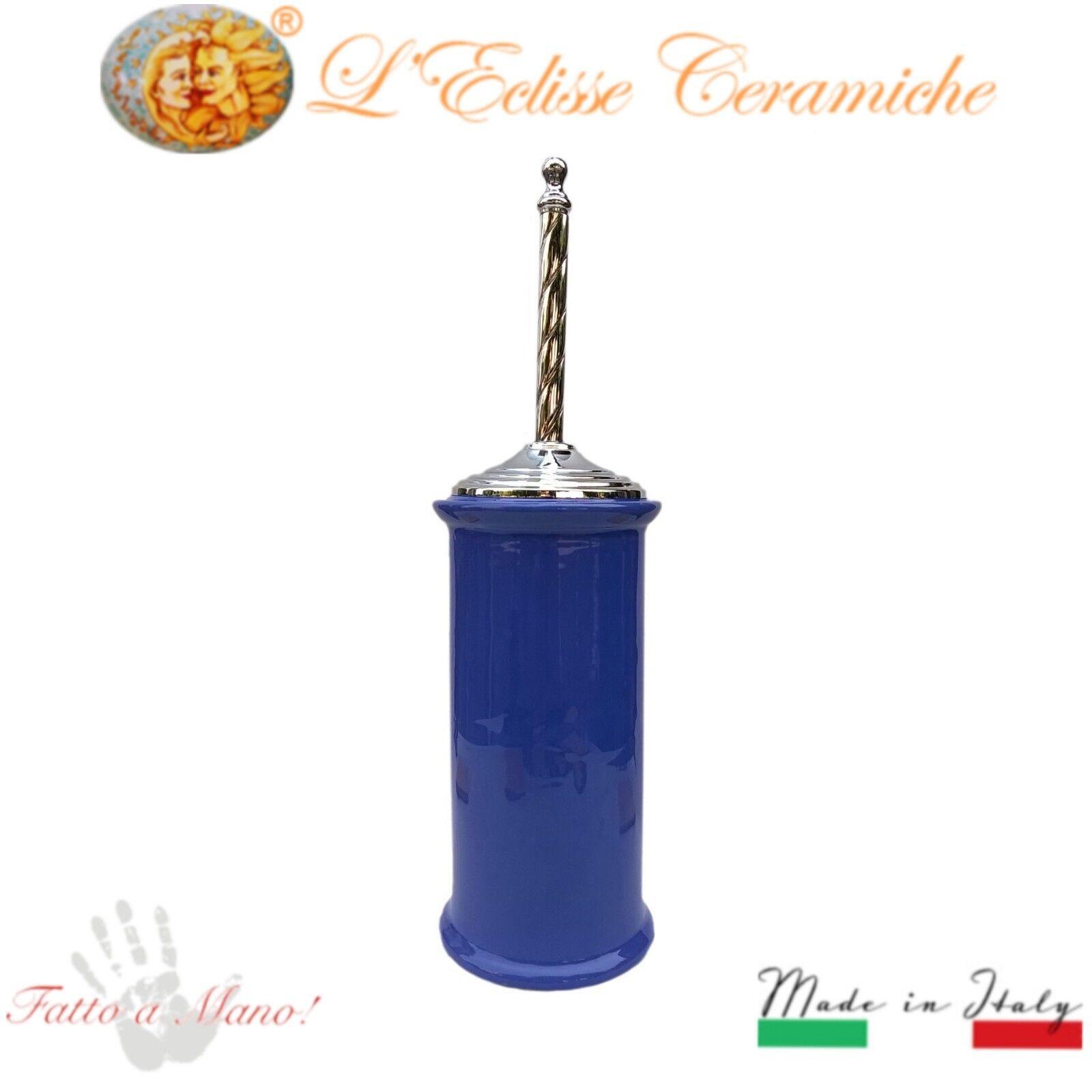 Tür Scopino Arroto bagno Design Ceramica Vietri Made in  Manico Cromo Blau