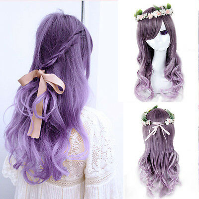 Fashion Womens Lolita Curly Wavy Long Wigs Cosplay Party Full Hair Wig New