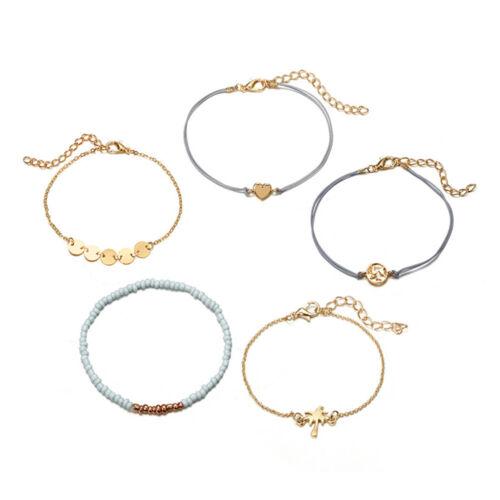 5 pcs//Set Multi-Couche Carte Coeur Noix de coco Arbre Perle Chaîne Bracelet Fashion Jewelry