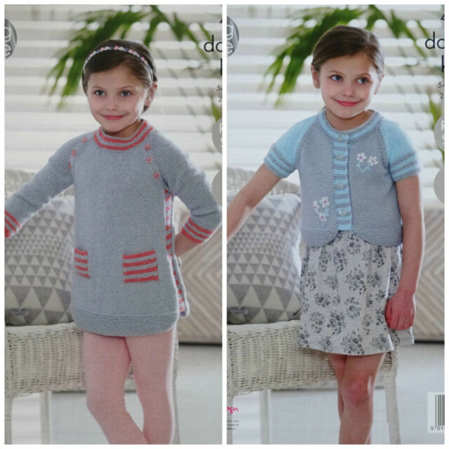 """Stripe Baby Childrens  Sweater Tunic /& Cardigans Chunky Wool 18/"""" 28/"""" To Knit"""