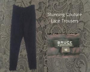 Dettagli su Pizzo Nero Donna Pantaloni Slim GLAMOUR Couture Bruce Oldfield vita alta 10 mostra il titolo originale