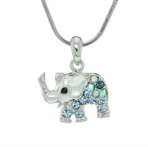 b545f0a14 Image is loading Made-With-Swarovski-Crystal-Elephant-Luck-Animal-Blue-