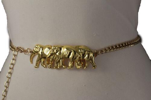 Damen Mode Gold Metall Ketten Gürtel Hip Hohe Taille Afrikanische Elefant XS S M