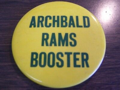 Archbald Pa Rams Booster 3 Inch Button Very Good Vintage