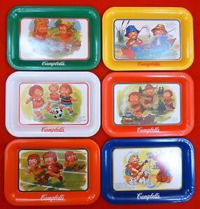 6-VINTAGE-Metal-CAMPBELLS-SOUP-Kids-TRAYS-Fishing-CALENDAR-Soccer-PUPPY-Opry-SET