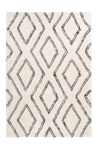 Shaggy Tapis d/'un épais berbère losange design moderne salon blanc crème