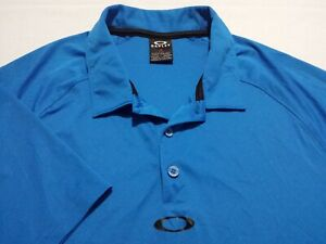 Oakley-Mens-Medium-Short-Sleeve-Solid-Blue-Athletic-Polo-Golf-Shirt