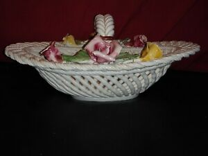 Beautiful-Vintage-Bassano-Lattice-Rope-Floral-Basket-Made-in-Italy