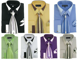 Men-039-s-French-Cuff-Dress-Shirt-with-Tie-and-Handkerchief-7-Colors-Size-15-20-MS34