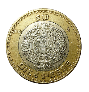 🇲🇽 Mexico 10 Pesos Coin, Bi-metallic, Sun Stone - Tonatiuh, 2015