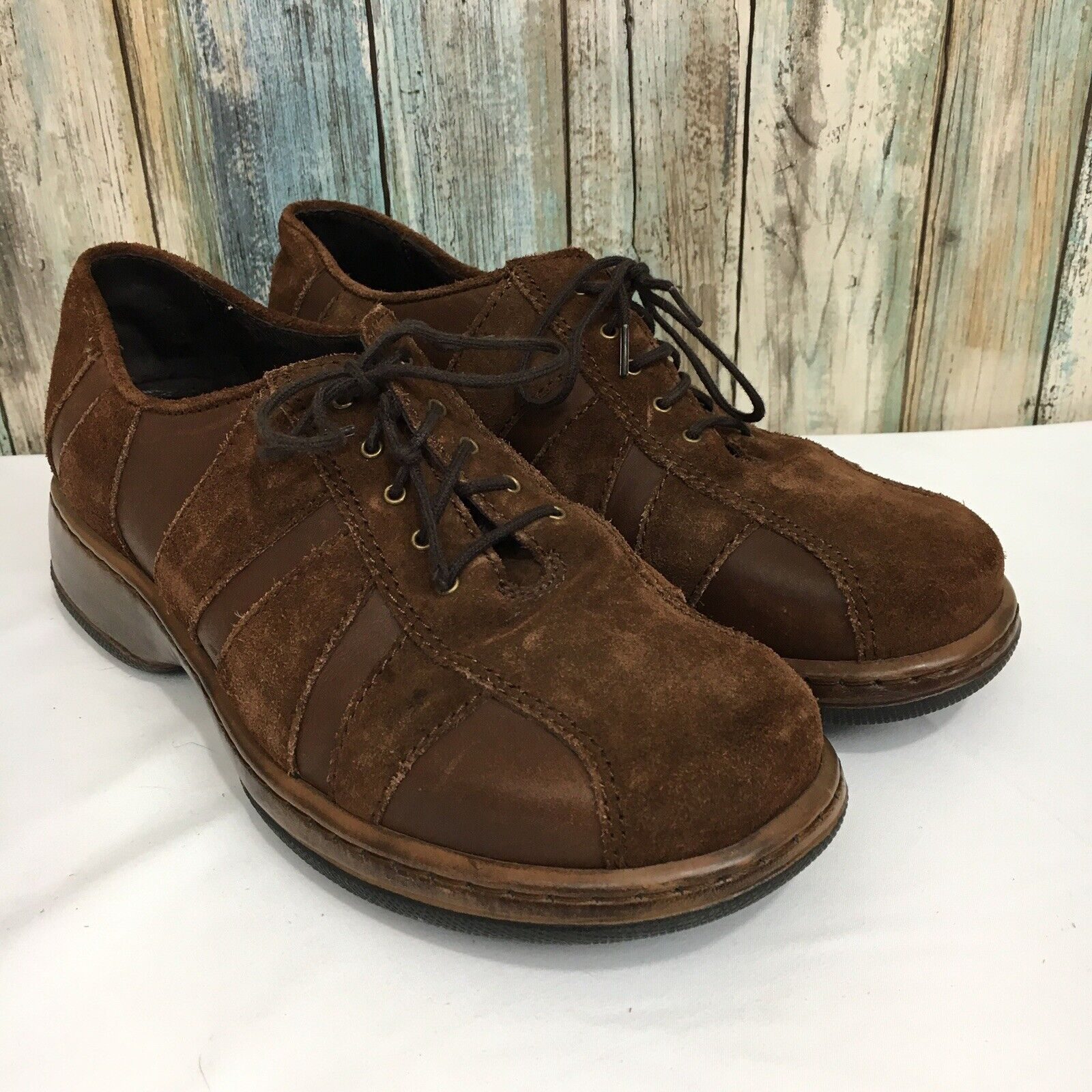 Dansko Folly Womens 39 US 8.5-9 Brown Striped Suede Leather Lace Up Oxford shoes