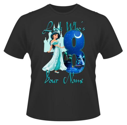 DISNEY Principessa Jasmine Personalizzato Ragazze T-shirt Età 8 Regalo Ideale//presenti