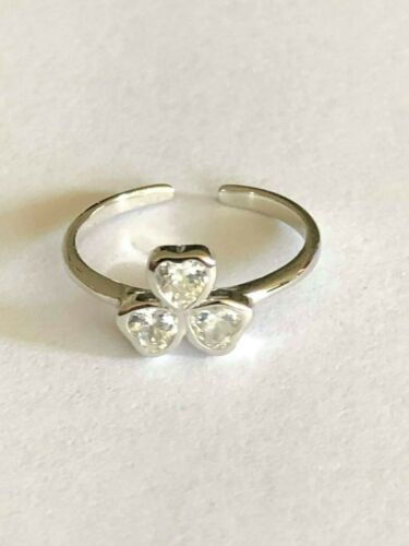 Sterling Silver .925 Toe Ring~ 3 Hearts w 3 Cz/'s Clover  ~ $9.49 All Sterling