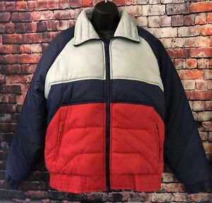 Vintage-Alpine-Ski-Men-039-s-Puffer-Jacket-Size-M-Grey-Red-Blue-Winter-Coat