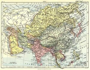 ASIA. Britannica 9th edition 1898 old antique vintage map plan chart