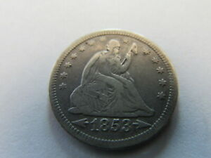 1853 Arrows & Rays Seated Liberty Quarter Philadelphia 25 Cents Silver Coin 25c